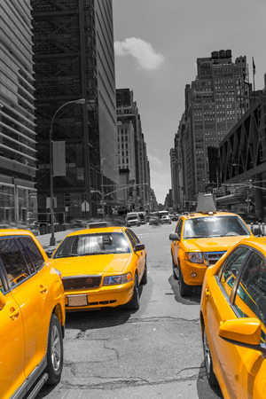 yellow cab: Times Square New York yellow cab taxi daylight US