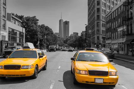 taxi: Nueva York West Village en Manhattan amarilla del taxi de Nueva York EE.UU.
