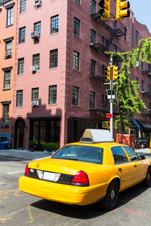 yellow cab: New York West Village in Manhattan yellow cab taxi NYC USA