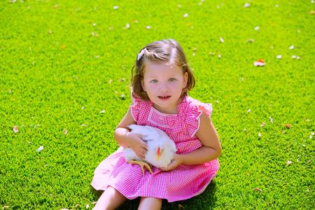 leghorn: Toddler kid girl with white Leghorn hen sitting in green turf grass garden Stock Photo