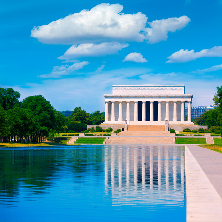 abraham lincoln: Abraham Lincoln Memorial reflection pool Washington DC US USA