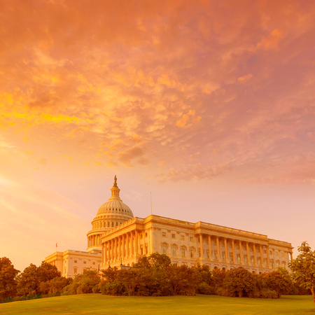 us government: Capitol building Washington DC sunset at US congress USA