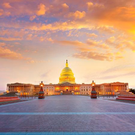 Kapitol Washington DC Sonnenuntergang am US Kongress USA Lizenzfreie Bilder