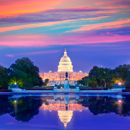 us government: Capitol building sunset congress of USA Washington DC US