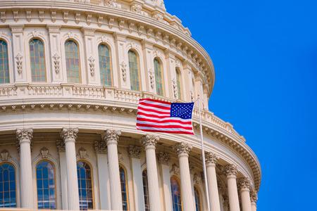 capitol building: Capitol building Washington DC american flag USA congress US