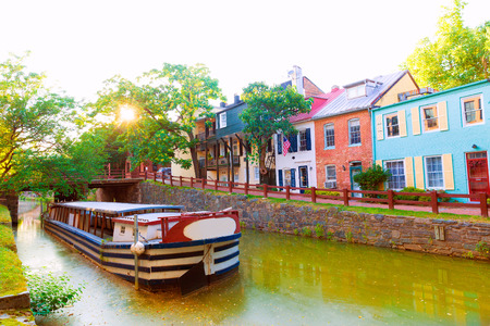 residential district: Chesapeake and Ohio Canal National Historical Park in Georgetown Washington DC Stock Photo