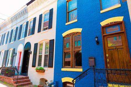 조지 타운 역사 지구 타운 하우스 facades 워싱턴 DC에서 미국