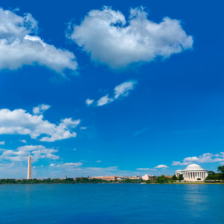 district of columbia: Thomas Jefferson and Washington memorial in District of Columbia USA