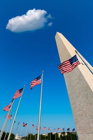 district of colombia: Washington Monument e bandiere americane in District of Columbia DC USA