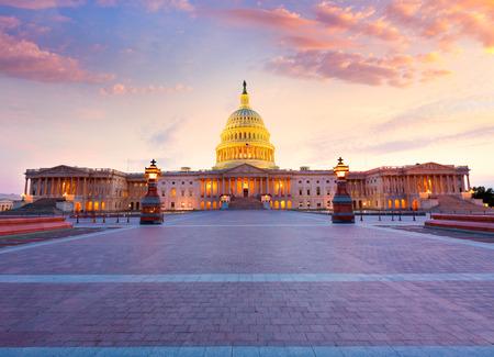 米議会米国のワシントン DC 夕日議会議事堂 写真素材