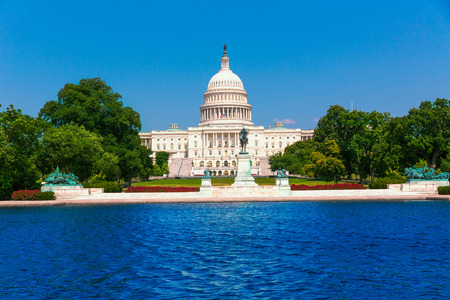 의사당 건물 워싱턴 DC 햇빛 미국 미국 의회 수영장
