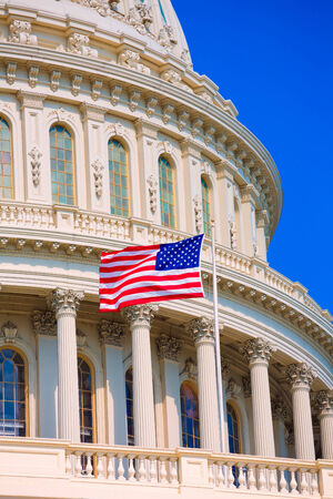 Capitole Washington DC USA drapeau américain Congrès américain