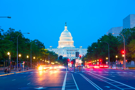 국회 의사당 일몰 펜실베니아 애비뉴 콩그레스 워싱턴 DC 미국 스톡 콘텐츠