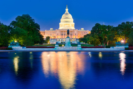 capitol building: Capitol building sunset congress of USA Washington DC US