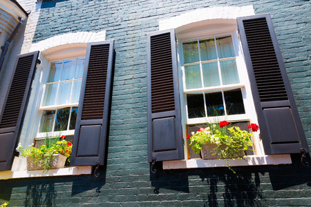 colonial house: Georgetown historical district townhouses facades Washington DC in USA
