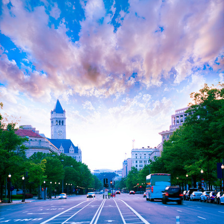 Pennsylvania Avenue sunset in Washington DC USA Stock Photo