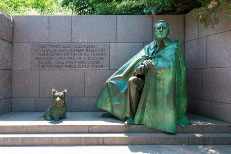 the memorial: Franklin Delano Roosevelt Memorial with dog in Washington DC USA Editorial