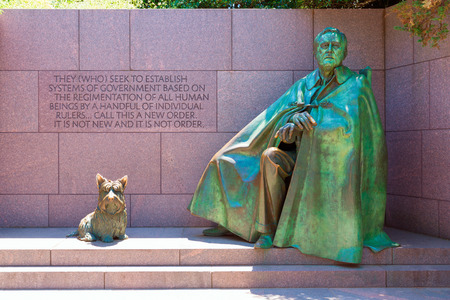 Franklin Delano Roosevelt Memorial with dog in Washington DC USA Editorial