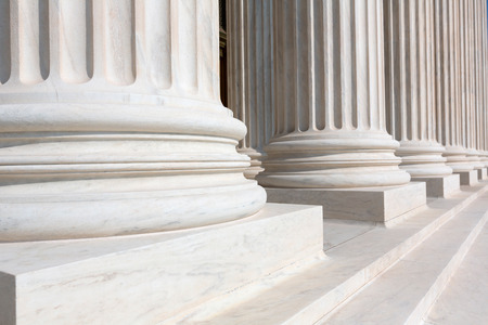 government: Supreme Court of United states columns row in Washington DC Stock Photo