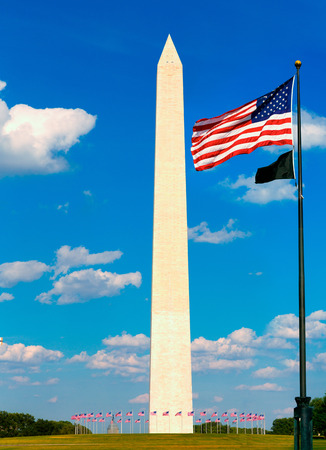 district of columbia: Washington Monument and flags in District of Columbia DC USA