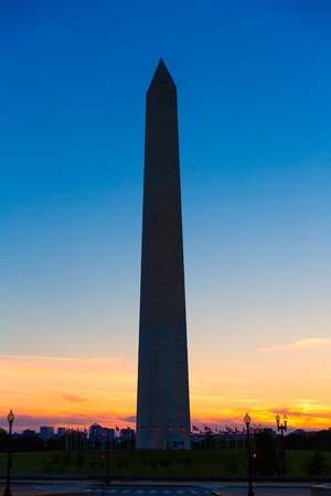 district columbia: Washington Monument sunset in District of Columbia DC USA