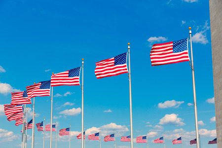 district of columbia: Washington Monument flags in District of Columbia DC USA