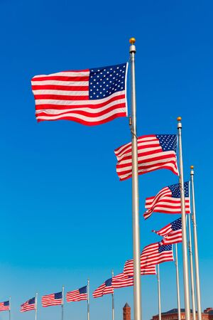 district columbia: Washington Monument flags in District of Columbia DC USA