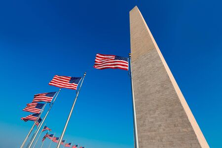 district columbia: Washington Monument and american flags in District of Columbia DC USA Editorial