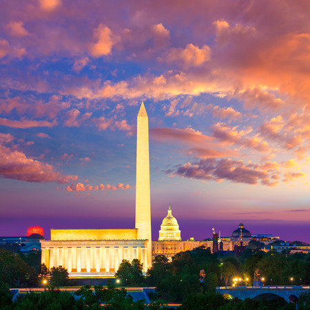Washington DC skyline with Monument Capitol and Abraham Lincoln memorial sunrise