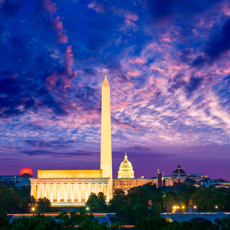 dc: Washington DC skyline with Monument Capitol and Abraham Lincoln memorial sunrise