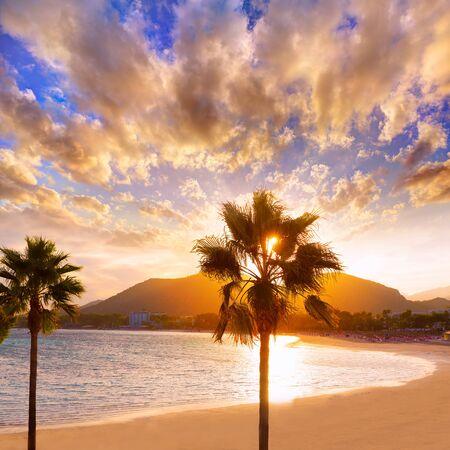 baleares: Alcudia Majorca at sunset on the beach Mallorca Balearic islands