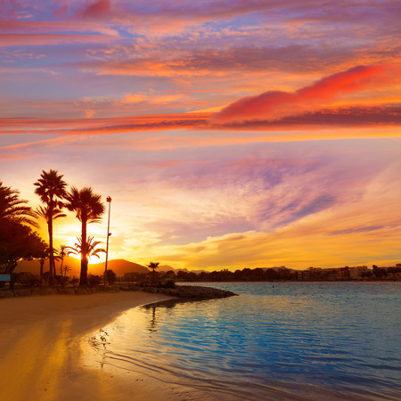 majorca: Alcudia Majorca at sunset on the beach Mallorca Balearic islands