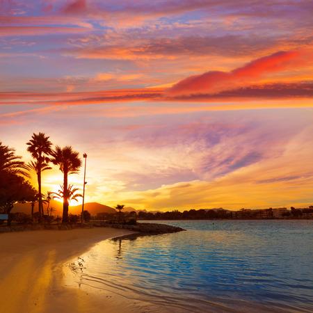 Alcudia Majorque au coucher du soleil sur la plage des îles Baléares Majorque Banque d'images