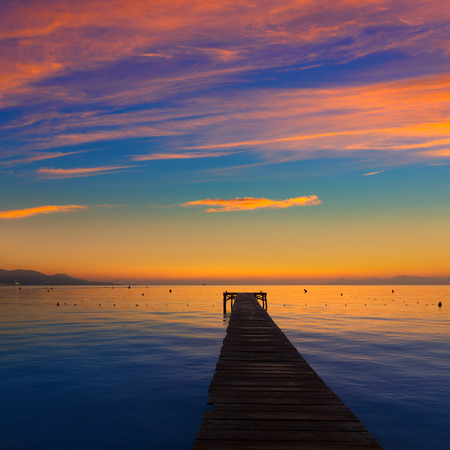 bay: Majorca Muro beach sunrise in Alcudia Bay Mallorca at Balearic Islands of Spain