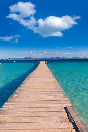 baleares: Mallorca Platja de Alcudia beach pier in Majorca Balearic islands