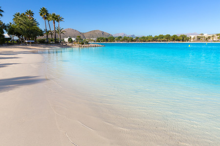 Platja de Alcudia beach in Mallorca Majorca at Balearic islands of Spain