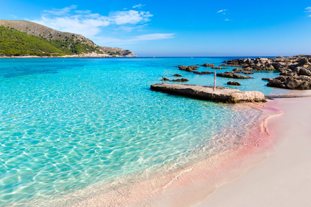 majorca: Majorca Cala Agulla beach in Capdepera Mallorca at Balearic Islands of Spain Stock Photo