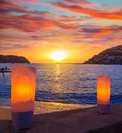 Mallorca port de Andratx sunset in Mallorca at Balearic islands of spain photo