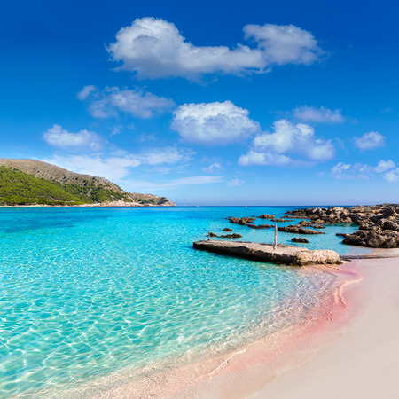 baleares: Majorca Cala Agulla beach in Capdepera Mallorca at Balearic Islands of Spain Stock Photo