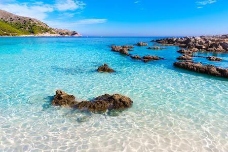 beaches of spain: Majorca Cala Agulla beach in Capdepera Mallorca at Balearic Islands of Spain Stock Photo