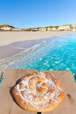Majorca Cala Mesquida beach in Mallorca Balearic Island ensaimada photo mount photo