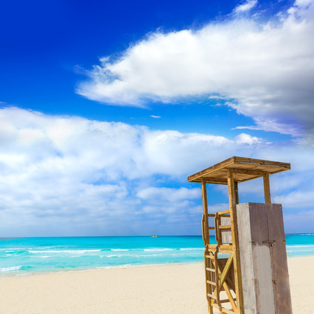 es: Majorca Es Trenc ses Arenes beach in Campos Balearic islands of Mallorca Spain