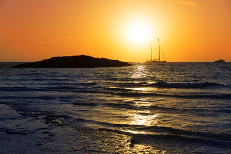 mediterraneo: Majorca Sunset in Es Trenc beach in Campos of Mallorca at Balearic islands Spain Stock Photo