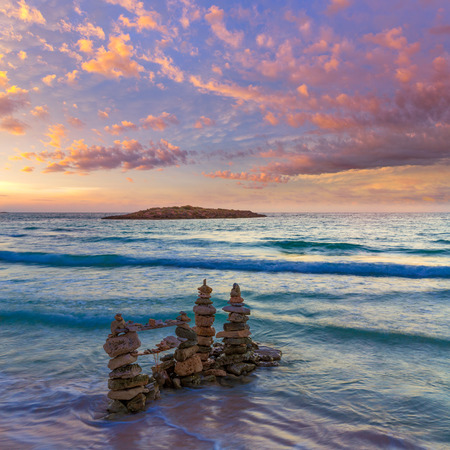 es: Majorca Sunset in Es Trenc beach in Campos of Mallorca at Balearic islands Spain Stock Photo