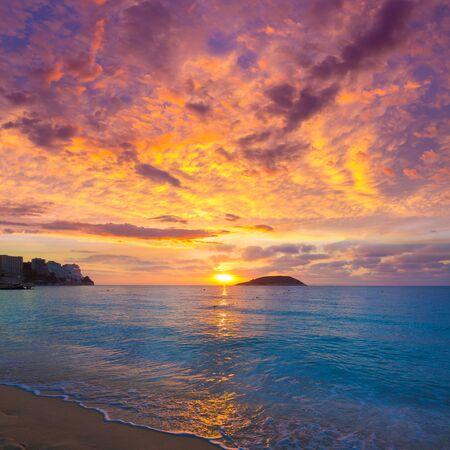 mediterraneo: Mallorca sunrise in Magaluf Palmanova beach Magalluf in Balearic Islands Spain