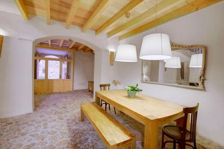 Majorca Balearic indoor house in Balearic islands Mediterranean architecture of Mallorca Stock Photo