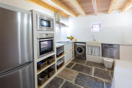 Majorca Balearic kitchen indoor house in Balearic islands Mediterranean architecture of Mallorca Stock Photo