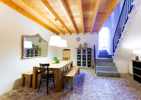 architectural styles: Majorca Balearic indoor house in Balearic islands Mediterranean architecture of Mallorca Stock Photo
