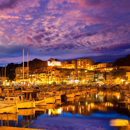 baleares: Port de Soller sunset in Majorca at Balearic island of Mallorca Spain Stock Photo