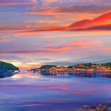 Port de Soller sunset in Majorca at Balearic island of Mallorca Spain Stock Photo